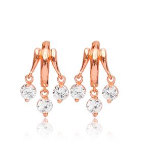 Shaky Zircon Earrings Turkish Wholesale 925 Sterling Silver Jewelry