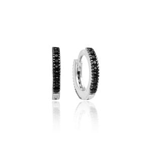 Black Zircon Hoop Earrings Minimal Design Wholesale Turkish 925 Sterling Silver Jewelry