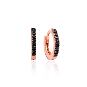 Hoop Earrings Minimal Black Zircon Wholesale Turkish 925 Sterling Silver Jewelry