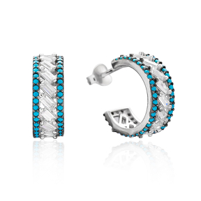 Nano Turquoise Hoop Silver Earring Wholesale 925 Sterling Silver Jewelry