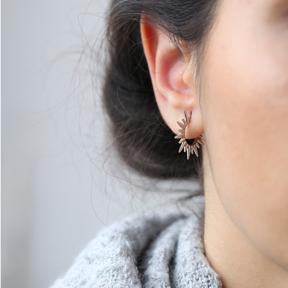 Pointed Design Hoop Earring Handmade Turkish 925 Silver Sterling Jewelry