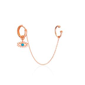 Single Cartilage And Eye Hoop Earrings Turkish Wholesale 925 Sterling Silver Jewelry