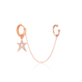 Star Single Cartilage And Hoop Earrings Turkish Wholesale 925 Sterling Silver Jewelry