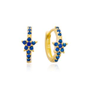 Sapphire Star Hoop Earrings Turkish Wholesale 925 Sterling Silver Jewelry
