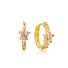 Silver Star Pink Stone Hoop Earrings Turkish Wholesale 925 Sterling Silver Jewelry
