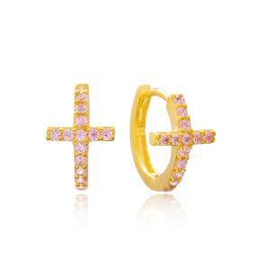 Cross Pink Stone Hoop Earrings Turkish Wholesale 925 Sterling Silver Jewelry
