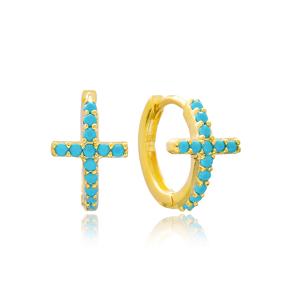 Silver Cross Hoop Earrings Turkish Wholesale 925 Sterling Silver Jewelry