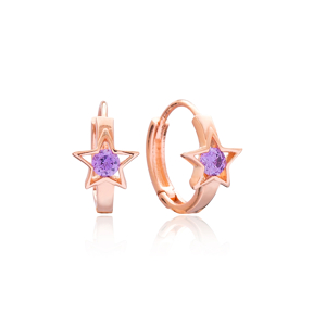 Amethyst Zircon Stone Star Design Earring Wholesale 925 Sterling Silver Jewelry