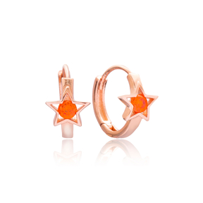 Star Design Hoop Earring Wholesale 925 Sterling Silver Jewelry