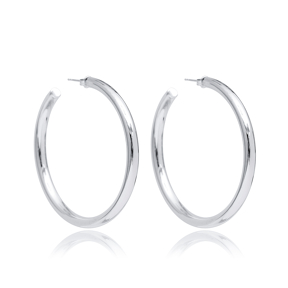 Round Ø60 mm Earring Wholesale Handmade Turkish 925 Silver Sterling Jewelry