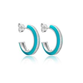 Turquoise Enamel Zircon Stone Round Design Stud Earrings Turkish Handmade Wholesale 925 Sterling Silver Jewelry