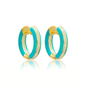 Enamel Zircon Stone Blue Hoop Earrings Turkish Wholesale 925 Sterling Silver Jewelry