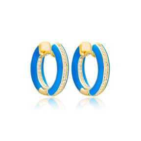 Blue Enamel Zircon Stone Hoop Earrings Turkish Wholesale 925 Sterling Silver Jewelry