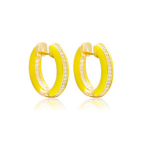 Yellow Enamel Zircon Stone Hoop Earrings Turkish Wholesale 925 Sterling Silver Jewelry