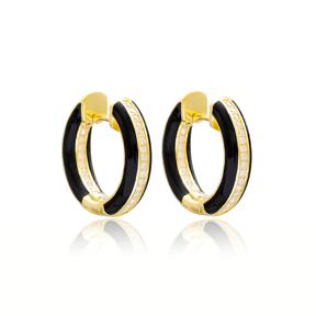 Black Enamel Zircon Stone Hoop Earrings Turkish Wholesale 925 Sterling Silver Jewelry