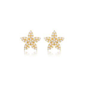 Flower Design Stud Earring Turkish Wholesale Handmade 925 Sterling Silver Jewelry