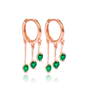 Emerald Stone Hoop Earrings Turkish Wholesale 925 Sterling Silver Jewelry