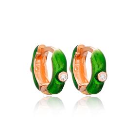 Trendy Green Hoop Enamel Earrings wholesale Turkish 925 Sterling Silver Jewelry