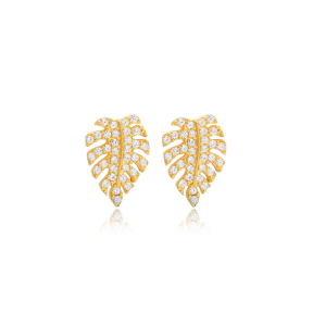 Tropical Leaf Design Stud Earring Turkish Wholesale Handmade 925 Sterling Silver Jewelry