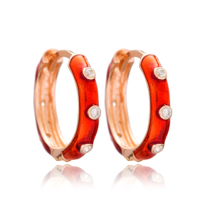 Red Enamel Big Hoop Earrings Wholesale Turkish 925 Sterling Silver Jewelry