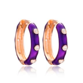 Purple Big Hoop Earrings Wholesale Turkish 925 Sterling Silver Jewelry