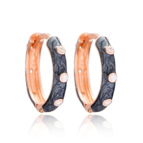 Trendy Mother of Pearl Enamel Big Hoop Earrings Wholesale 925 Sterling Silver Jewelry