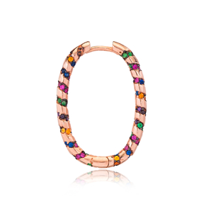 Colorful Stone Ovoid Shape Ø19 mm Sized Fashion Design Hoop Earrings Wholesale Turkish Handmade 925 Sterling Silver