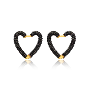 Black Zircon New Trend Heart Earrings Wholesale Turkish Handmade 925 Sterling Silver Jewelry