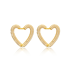 Zircon New Trend Heart Earrings Wholesale Turkish Handmade 925 Sterling Silver Jewelry