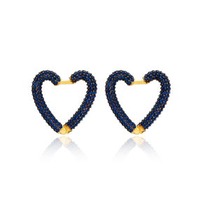 Sapphire New Trend Heart Earrings Wholesale Turkish Handmade 925 Sterling Silver Jewelry