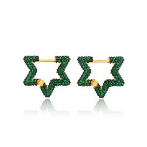 Emerald New Trend Star Shape Earrings Wholesale Turkish Handmade 925 Sterling Silver Jewelry