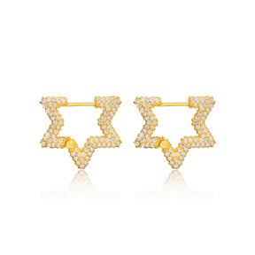 Zircon New Trend Star Shape Earrings Wholesale Turkish Handmade 925 Sterling Silver Jewelry