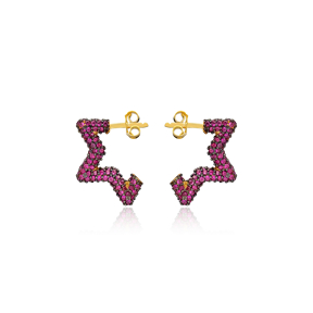 Trendy Ruby Star Shape Earrings Wholesale Turkish Handmade 925 Sterling Silver Jewelry