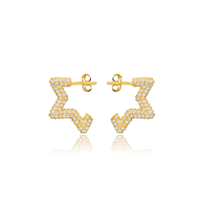 Trendy Zircon Star Shape Earrings Wholesale Turkish Handmade 925 Sterling Silver Jewelry