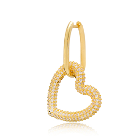 Single Heart Charm Earring Turkish Wholesale Handmade 925 Sterling Silver Jewelry