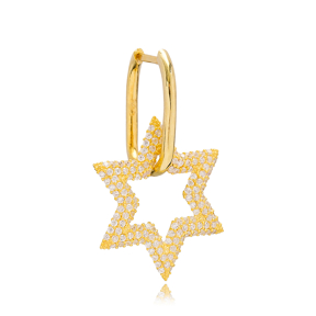 Single Star Charm Earring Turkish Wholesale Handmade 925 Sterling Silver Jewelry