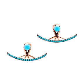 Micro Turquoise Ear Cuff Turkish Wholesale Handcrafted Silver Earring