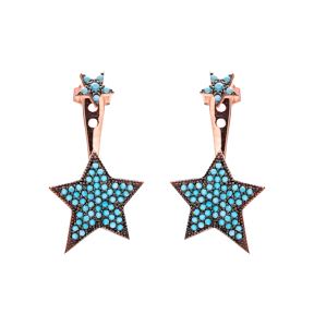 Micro Turquoise Ear Cuff Star Turkish Wholesale Handcrafted Silver Earring