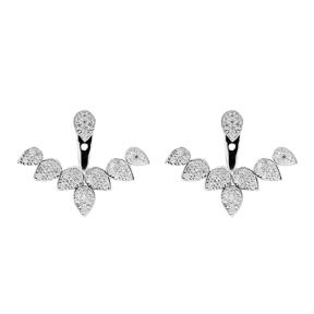 Silver Ear Jacket Earring Turkish Wholesale Handcrafted Jewelry