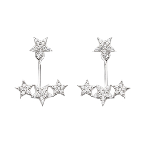Silver Ear Jacket Cuff Star Design Earring Turkish Wholesale Handcrafted Jewelry