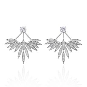 Clear Zircon Phoenix Wings Earrings Turkish Wholesale 925 Sterling Silver Double Side Earring
