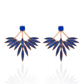 Sapphire Stone Phoenix Wings Earrings Turkish Wholesale 925 Sterling Silver Double Side Earring
