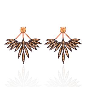 Citrine Stone Phoenix Wings Earrings Turkish Wholesale 925 Sterling Silver Double Side Earring