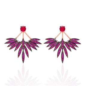 Ruby Stone Phoenix Wings Earrings Turkish Wholesale 925 Sterling Silver Double Side Earring