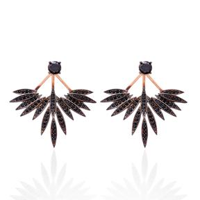 Black Zircon Phoenix Wings Earrings Turkish Wholesale 925 Sterling Silver Double Side Earring