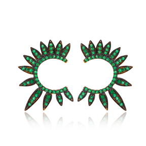 Half Round Of Wing In Stud Earring Green Wings Earrings Turkish Handmade Wholesale 925 Sterling Silver Jewelry