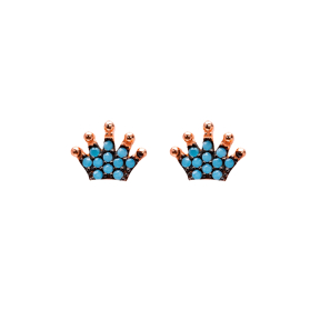 Micro Turquoise Crown Turkish Wholesale Silver Stud Earring