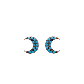 Micro Turquoise Crescent Moon Turkish Wholesale Silver Stud Earring