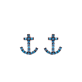 Micro Turquoise Anchor Turkish Wholesale Silver Stud Earring