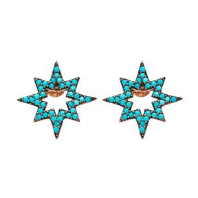 Pole Star Design Earring Wholesale Turkish Sterling Silver Earring